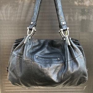 B. Makowsky Black Leather Shoulder Bag